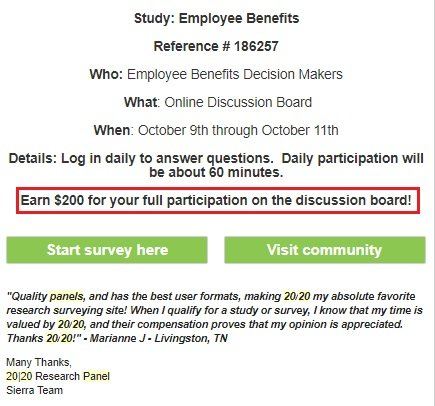Paid Surveys 20|20 Panel - Email Invite