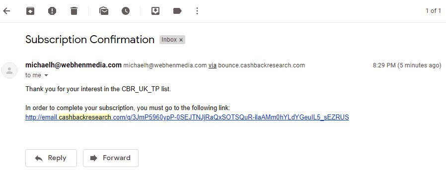 Paid Surveys Cashback Research - Odd Email