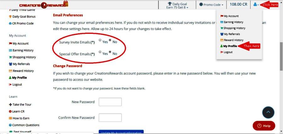 Paid Surveys Creations Rewards - Email Preferences