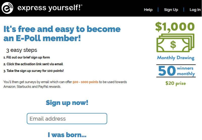 Paid Surveys E-Poll - Sign Up Bonus