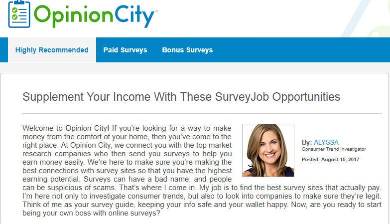 Paid Surveys Opinion City - Homepage Statement