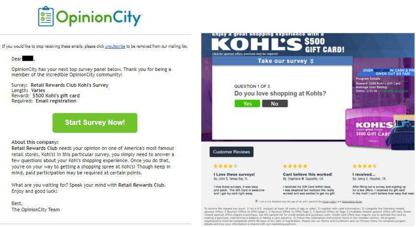 Paid Surveys Opinion City - Spammy Email
