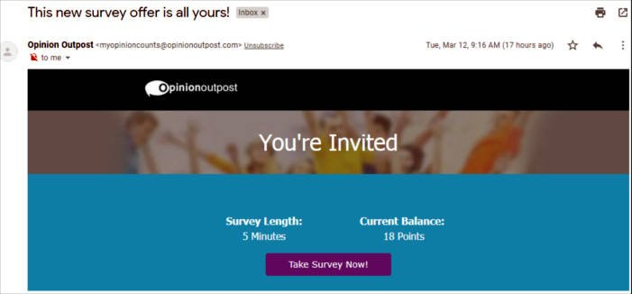 Online Surveys Opinion Outpost - Email Survey No Point Value