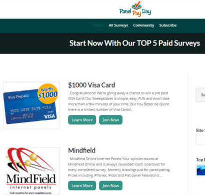 Paid Surveys Scam Panel Pay Day - Homepage