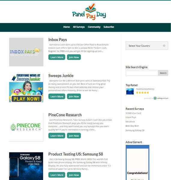 Paid Surveys Scam Panel Pay Day - Offers Directory