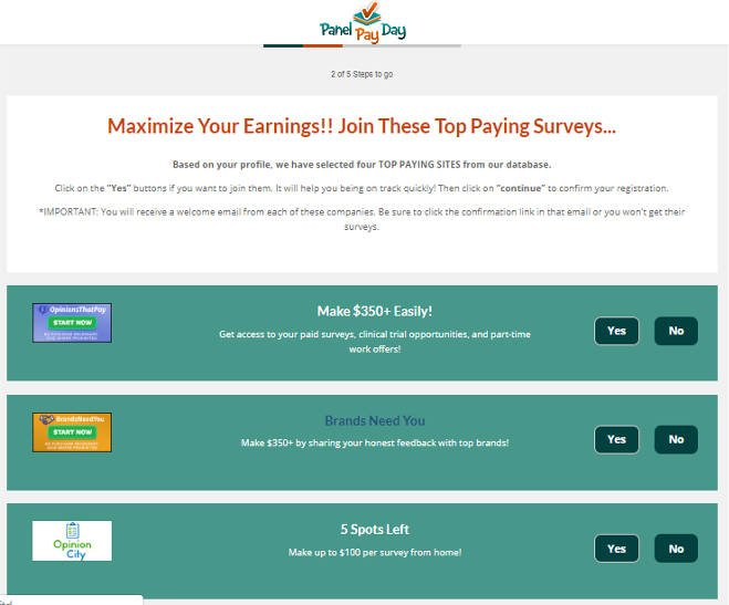Paid Surveys Scam Panel Pay Day - Subscribe Offers
