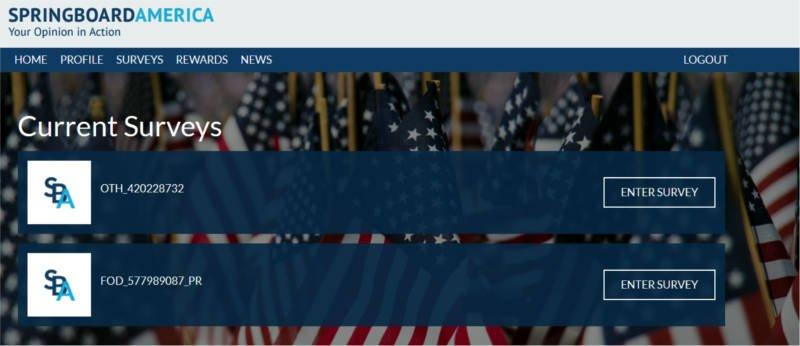 Paid Surveys Springboard America - Available Surveys