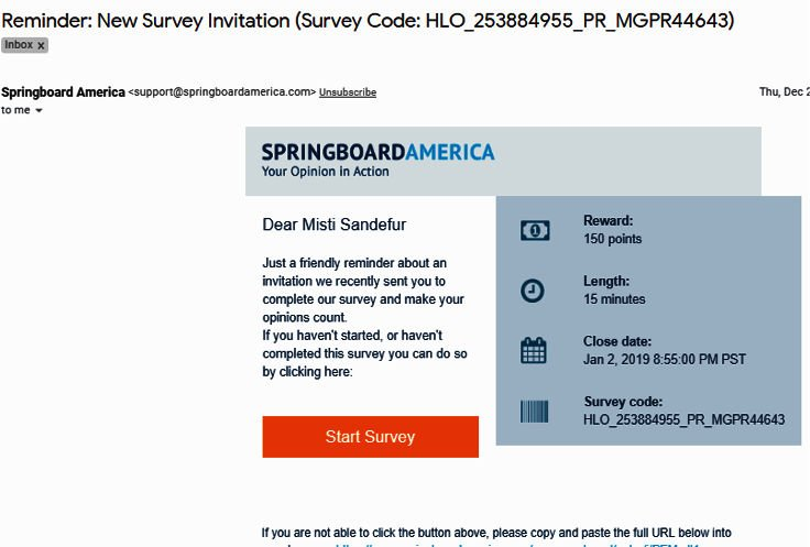 Paid Surveys Springboard America - Email Survey