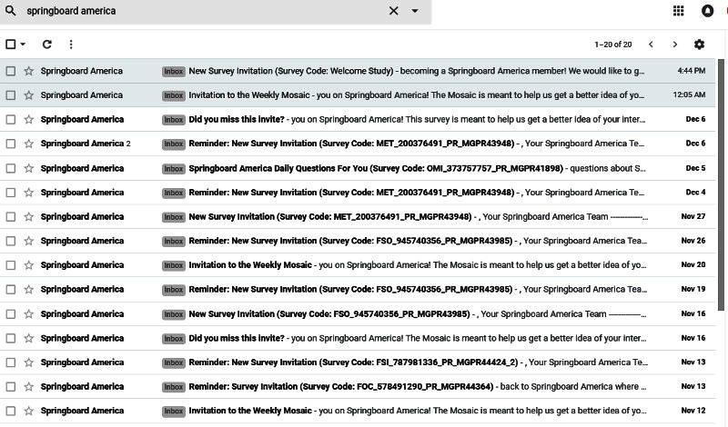 Paid Surveys Springboard America - Emails