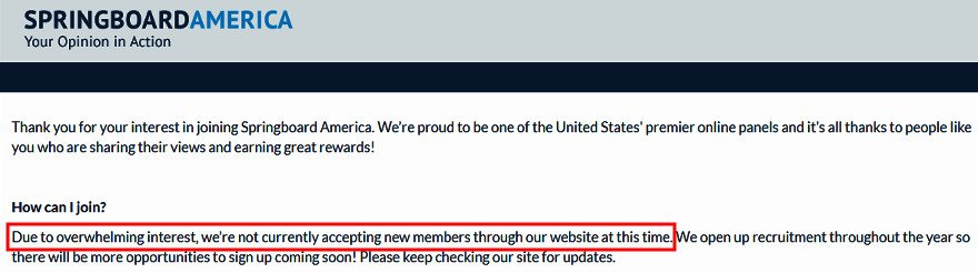 Paid Surveys Springboard America - Not Accepting New Members Message
