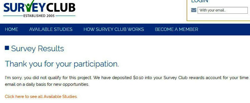 Paid Surveys Survey Club - Disqualification Message