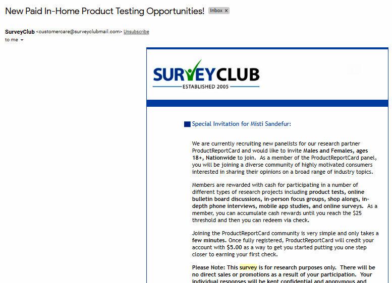 Paid Surveys Survey Club - Email to Other Survey Site