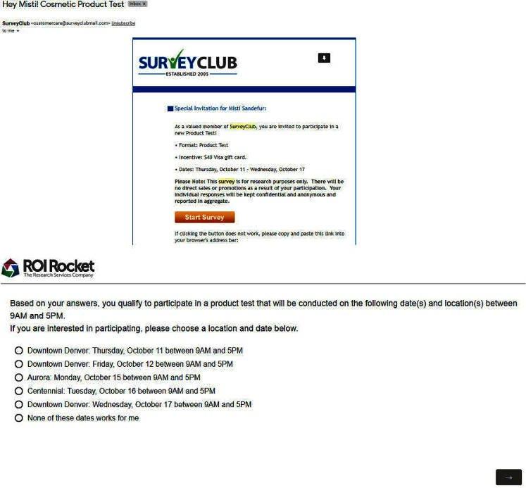 Paid Surveys Survey Club - Product Test Email Invite