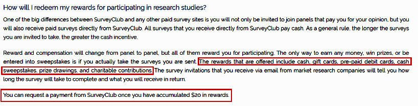 Paid Surveys Survey Club - Rewards