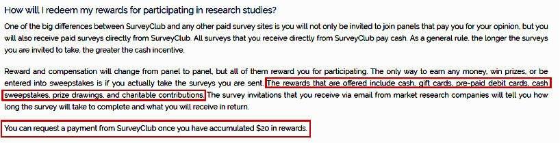 Paid Surveys Survey Club - Rewards