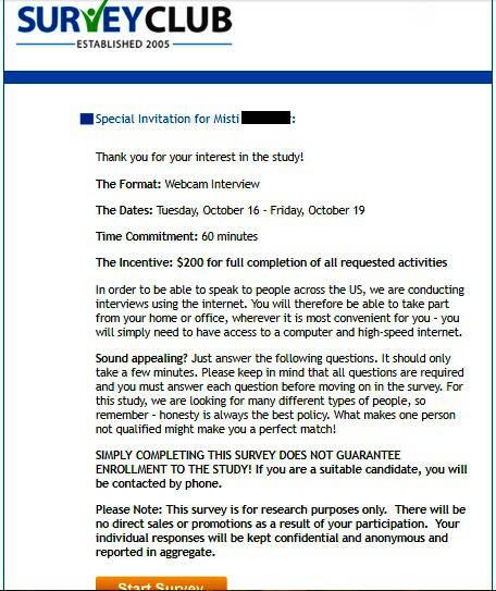 Paid Surveys Survey Club - Study Email