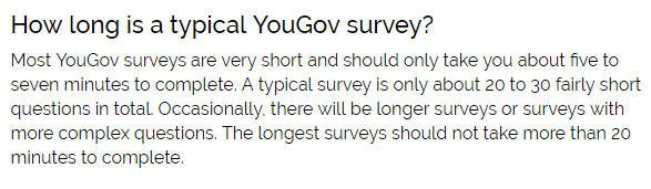 Paid Surveys YouGov - Length of Surveys