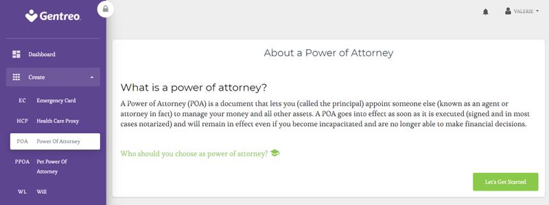 power of attorney on gentreo