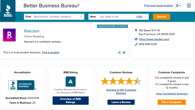 rakuten on better business bureau
