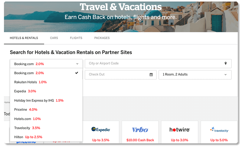 rakuten search hotel vacation rental partner sites