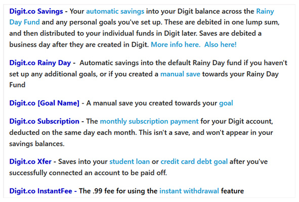 saving options on digit