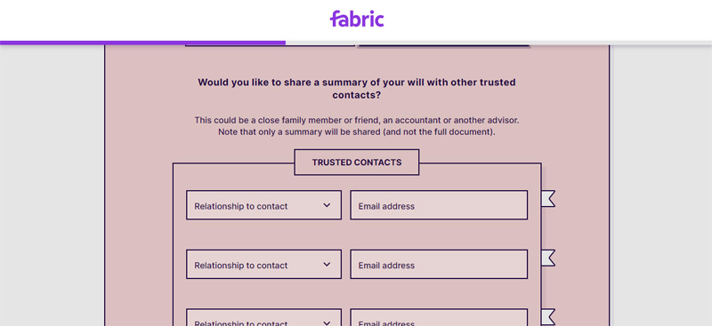 share details of your will with fabric