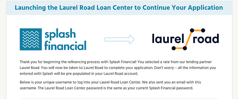 splash financial launch laurel road
