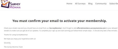 Survey Site Reviews Survey Momma - Confirm Email