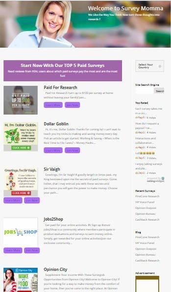 Survey Site Reviews Survey Momma - Homepage