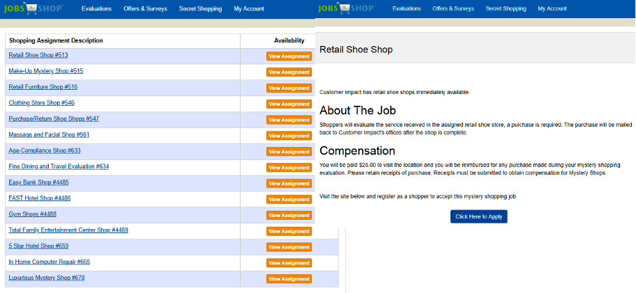 Survey Website Jobs2Shop - Mystery Shopping Jobs
