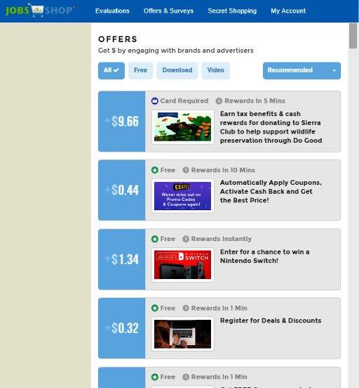 Survey Website Jobs2Shop - Offers