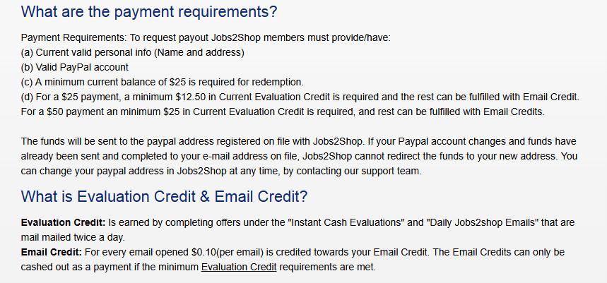 Survey Website Jobs2Shop - Payment Requirements