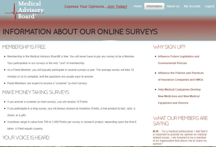 Survey Website Medical Advisory Board - Claims