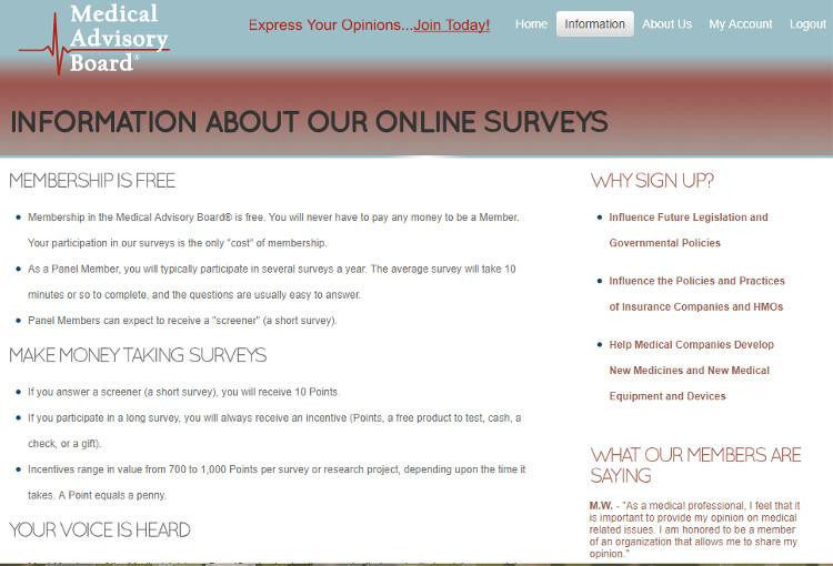 Survey Website Medical Advisory Board - Claims