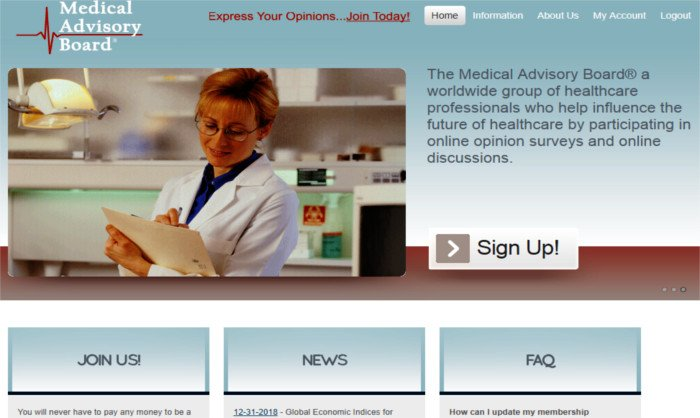 Survey Website Medical Advisory Board - Homepage