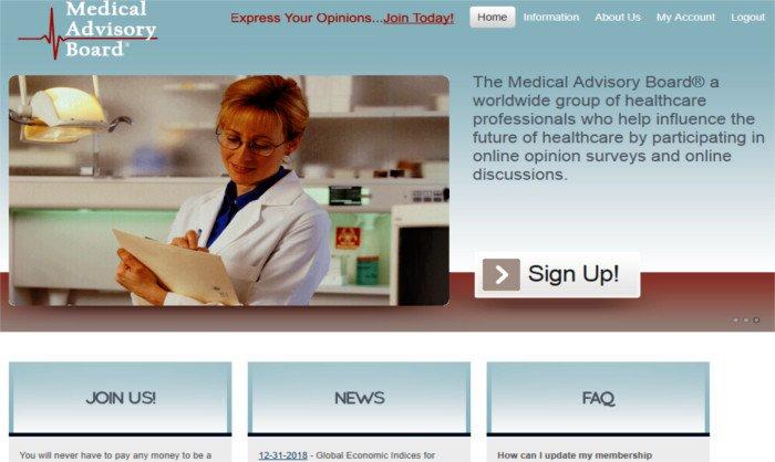 Survey Website Medical Advisory Board - Homepage