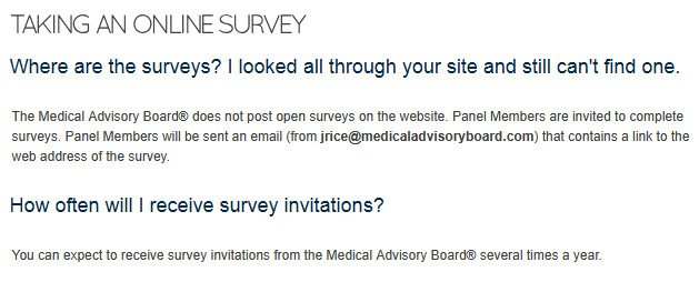 Survey Website Medical Advisory Board - Survey Claims
