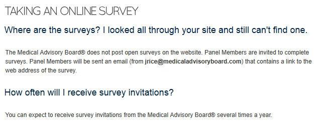 Survey Website Medical Advisory Board - Survey Claims