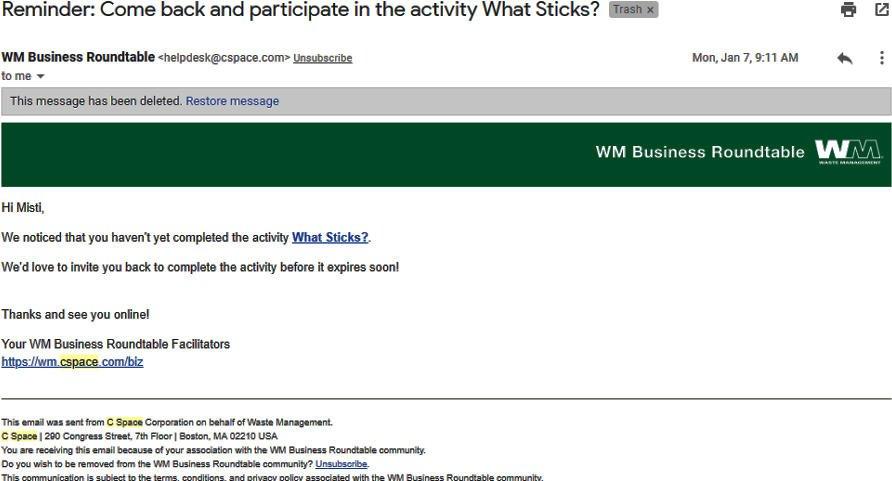 Survey Websites Catch - Community Reminder Email