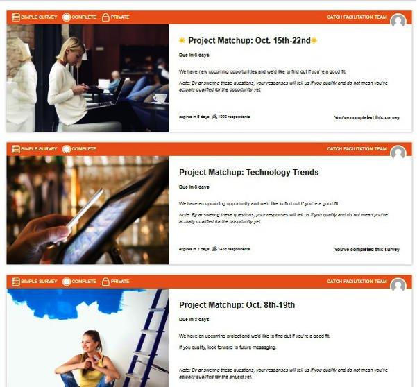 Survey Websites Catch - Project Matchups