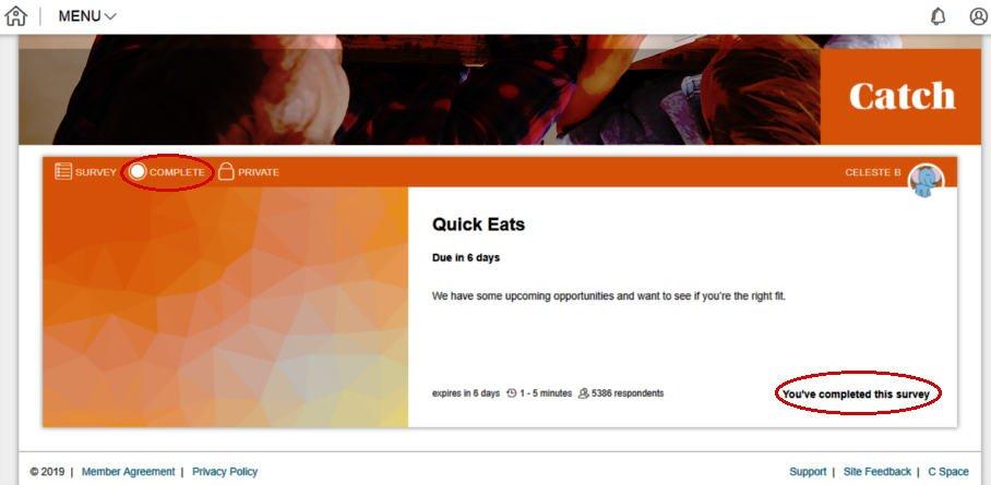 Survey Websites Catch - Survey Completed Message