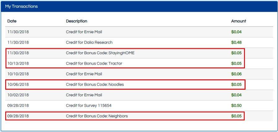 Surveys for Cash Earning Station - Proof of Bonus Credits
