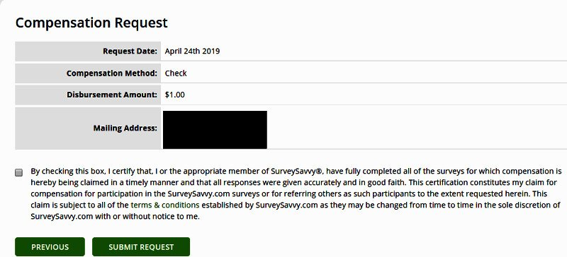 Surveys for Cash Survey Savvy - Requesting Check