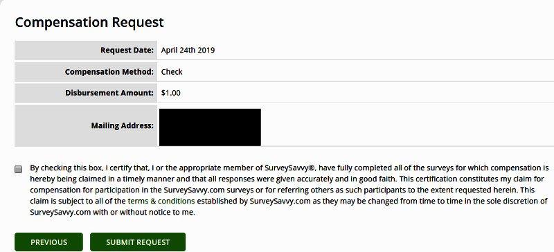 Surveys for Cash Survey Savvy - Requesting Check