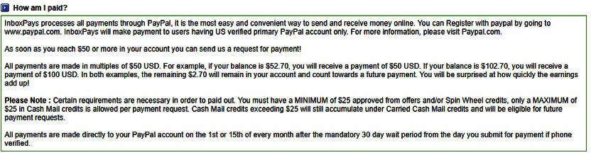 Surveys for Money Inbox Pays - Payment Minimums