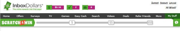 Surveys for Money InboxDollars - Scratch and Win