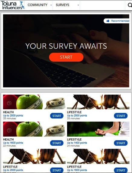 Surveys for Money Toluna - Available Surveys