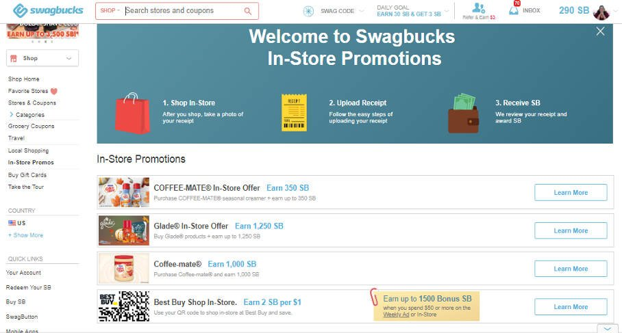 Swagbucks Surveys In-Store Offers