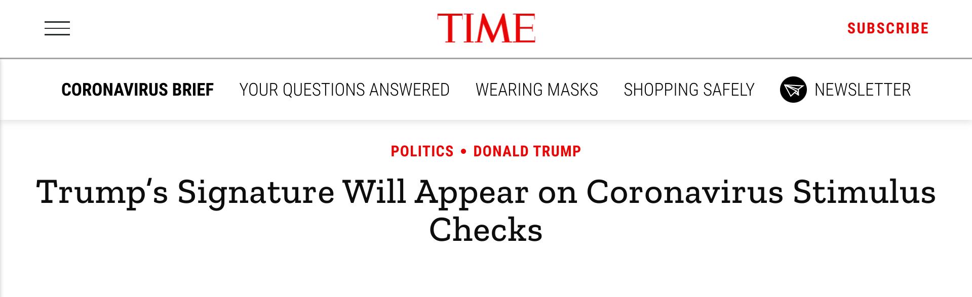 time.com Trump's Signature Will Appear on Coronavirus Stimulus Checks