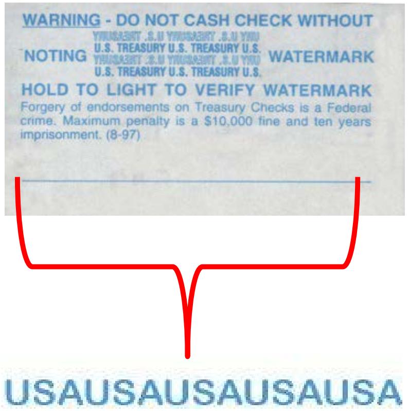 treasury check microprinting